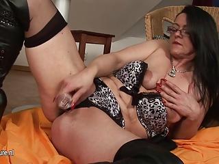 brunette old grown-up slut taking juicy and wild