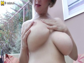 big boobed mature mother playing single