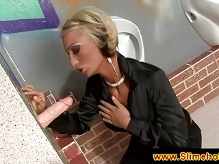 blond mature babe associate at the gloryhole