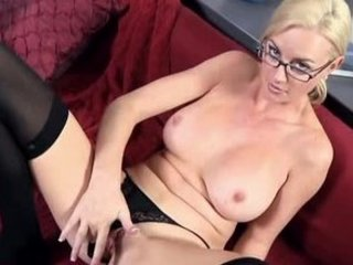 office woman works vagina to orgasm