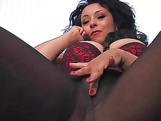 busty brown haired woman into brown nylons teases