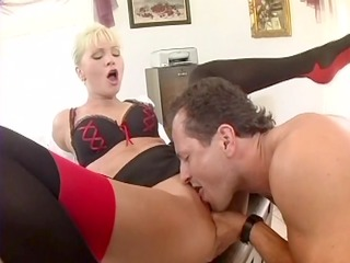 busty assistant gang-banged into pantyhose and a