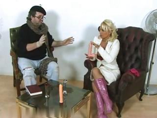 naughty older blond bitch undresses and enjoys