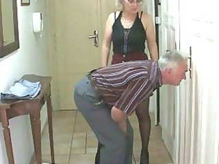 bf caught his gf with her old milf and dad