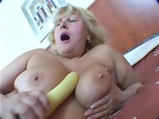 overweight golden-haired ancient masturbation on