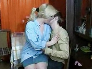 russian woman and teenager having a drink