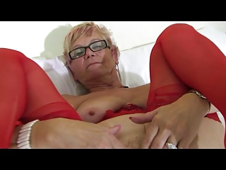 elderly inside glasses and yellow panties and