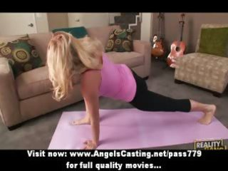 pale mature lady does yoga and penis sucking for