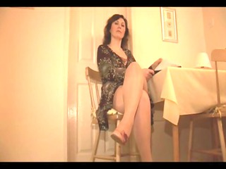 grown-up chick into slither and pantyhose with