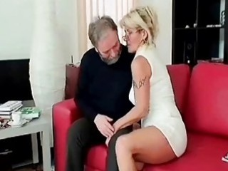 busty grownup blows elderly cock deep and