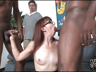 slut wife fucks 2 bbc inside front of cuckold