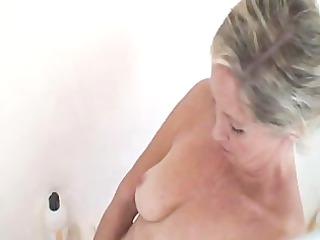 hot granny has a bath