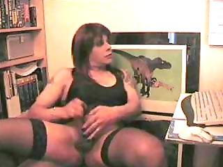 cougar crossdresser jerking off his dick