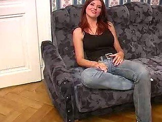 naughty mature babe in jeans licks cock like a