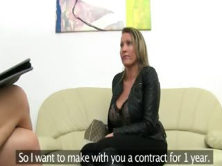 mature glamour drilling on leather couch
