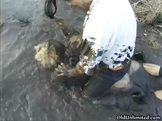 dirty cougar woman covered with mud part4