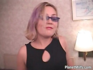 hot blonde girl with glasses licks libido