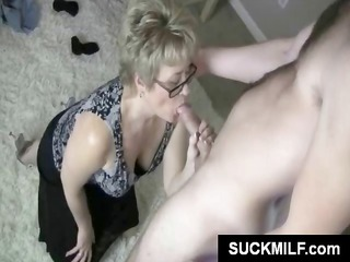 mature bleached inside glasses munches on a