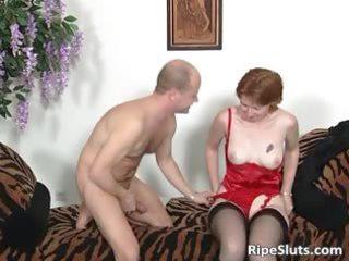 grownup bitch into pantyhose licks chubby boner