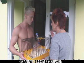 elderly allows him to get her