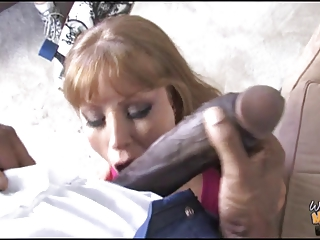 nasty mother fucks 12 inch ebony cock in front of