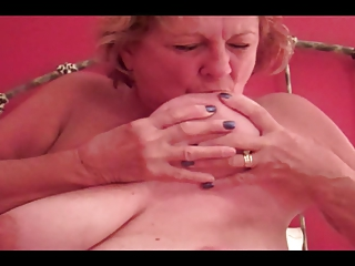 big bossom granny licks own nipples, blows fresh