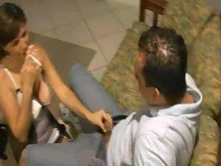 lady christa smokes and gang-bangs her stepson