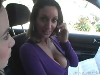 cougar chick shows pussy in 3some with daughter
