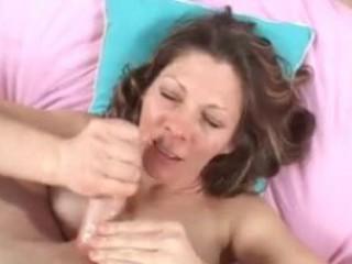 extremely impressive lady drinks fresh cumshots
