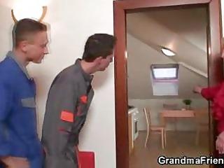 two repairmen copulate naughty grandma from both