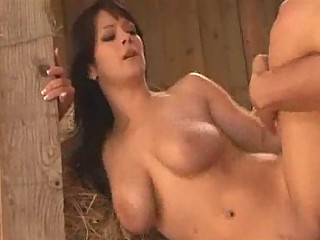 country lady fucking a male in her barn