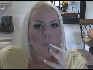 awesome horny bleached lady smoking solo