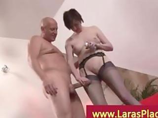 mature girl stretching her vagina