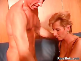 sexy blond older lady into stockings is gangbanged