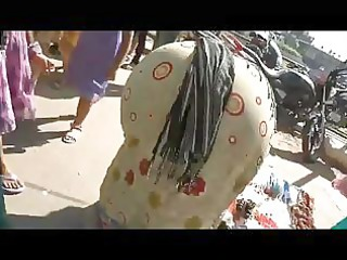 older indian bend over street butt