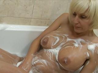 playful albino mature babe with large bosom