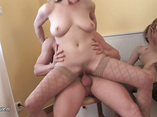 triple desperate grown-up babes share solitary