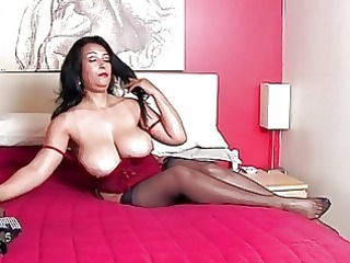 stunning brunette momma with big bazongas into
