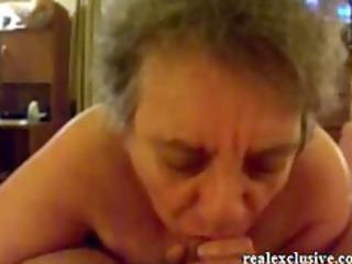 62 years elderly sandra tasting penis of her
