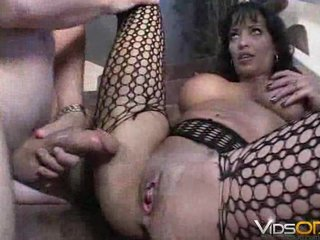 fishnet mature babe fucked on stairs