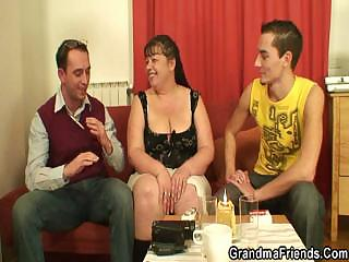 two funny guys gang bang cougar fatty