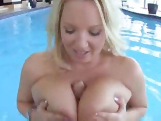 pale milf bounces her huge breast in the