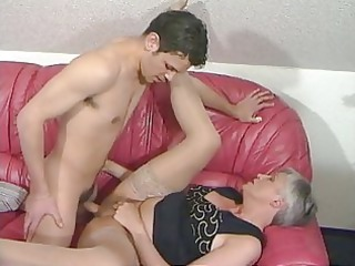 grey haired old into stockings copulates the man
