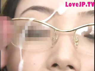 japanese lady in glasses banged and cummed on
