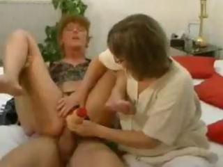 two mature brunettes inside hot triple couples
