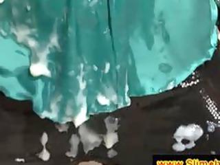 cougar brunette covered into semen