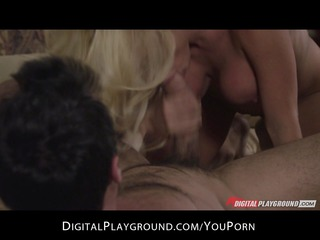gorgeous blonde woman has intense morning fuck