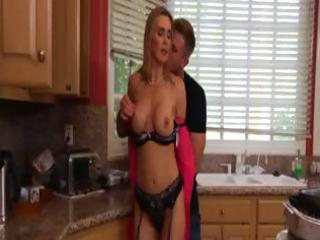 hot, busty bleached woman tanya eats dick and