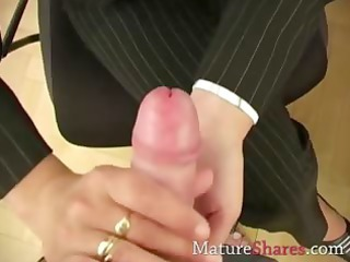 elderly secretary giving point of view dick