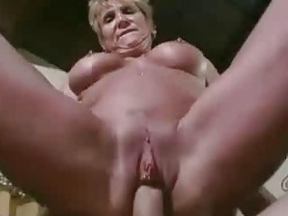 older sweetie jizzed on large fake boobs